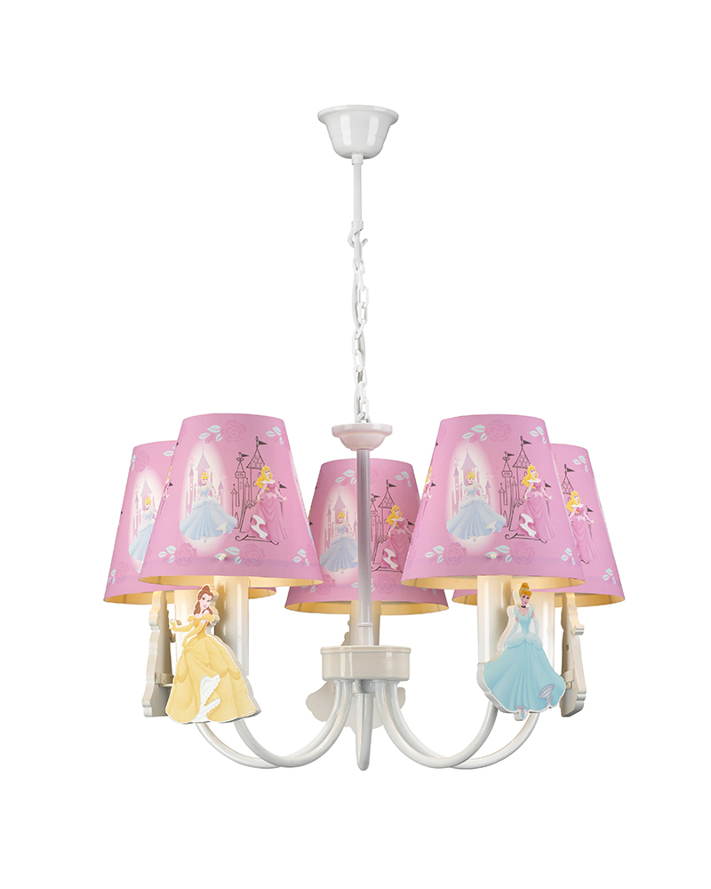 Kids Lamps 5 Lights Princess Theme Pink Chandelier Children Light Bedroom Led Light For Children S Room