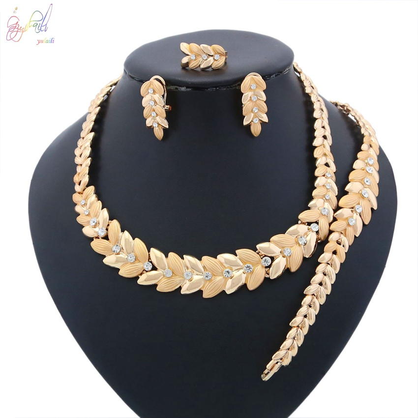 YULAILI Ladies Costume Nigerian Bridal Party Occasion 18 Karat Gold Color Zinc Alloy Jewelry Set Necklace Accessories manual tampo printing machine tampo printing machine hand tampo printing machine