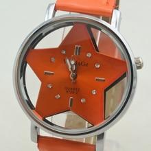 Модный бренд WoMaGe милый пятиконечная звезда дизайнерский стиль женские Полые прекрасный из искусственной кожи красивые женские часы Повседневные платья Часы