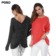 PGSD Winter Women clothes Fashion simple pure color Long sleeves Frenulum fold DeepV Backless O-Neck Two Way Wear T-shirt female pgsd autumn winter sports women clothes fashion simple pure color pocket midriff baring frenulum hooded sexy casual suit female
