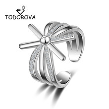 Todorova Luxury Female Cross X Shape Cubic Zircon Micro Paved Wedding Rings for Women Adjustable Exquisite Party Cocktail Ring