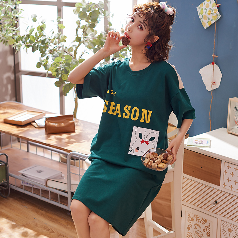 2019 Summer Full Cotton Short-sleeved   Nightgown   Women   Sleepshirt   Casual Sleepwear Female O-neck Loose Night Dress 3XL