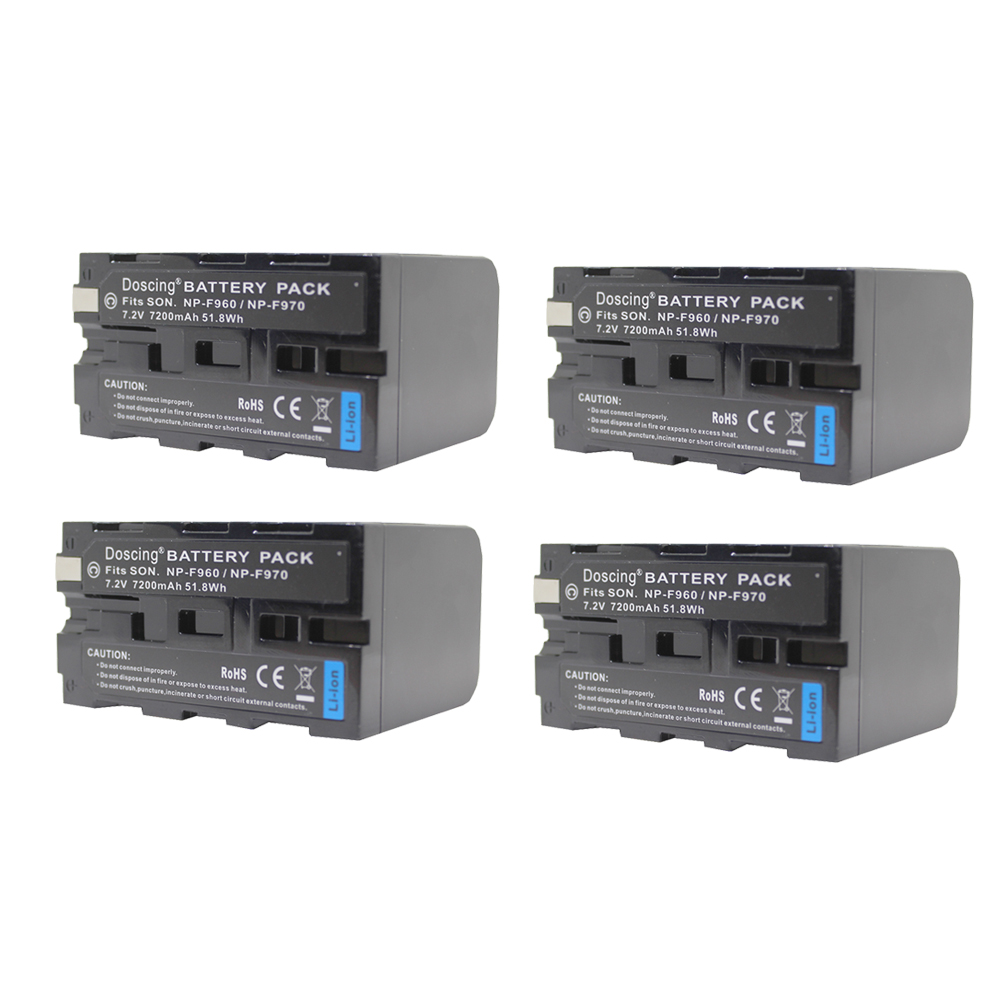 Doscing 4Pcs 7200mAh NP-F960 NP-F970 NP F930 Rechargeable Camera Battery for SONY F950 F330 F550 F570 F750 F770 MVC-FD51 np f550 зарядное устройство для sony np f570 np f750 np f960 np f330 np f770