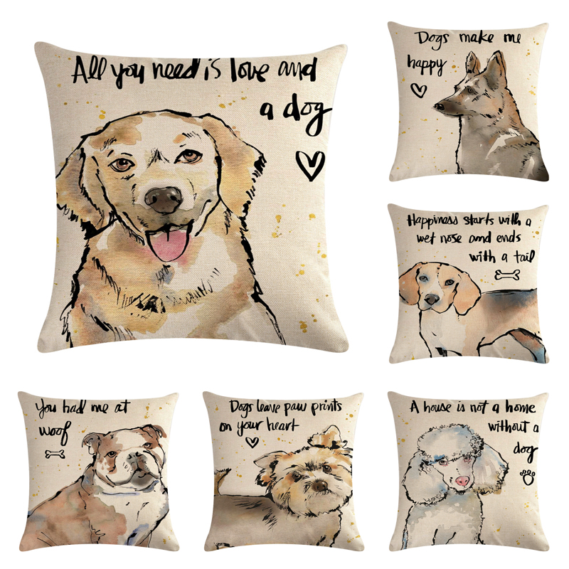 Dog leave Paw print in You Heart Cotton Linen Throw Pillow Case Cushion Cover Home Decor Decorative Pillows For Sofa Cushion