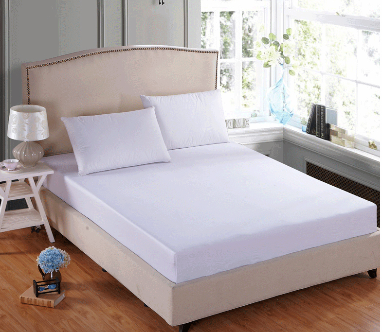 Solid color white red blue cotton Fitted Sheet bedding Mattress Cover With Elastic fitted Sheet twin full queen size bed lining