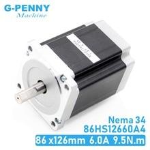 NEMA34 CNC stepper motor 86x126mm 9.5N.m 6A D=14mm Nema 34 stepping motor 1350Oz-in for CNC engraving machine,welding machine