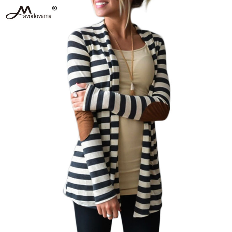 Avodovama M 2017 New Fashion Women Cardigan Casual Loose Knitted Striped Long Sleeve Sweater for Autumn