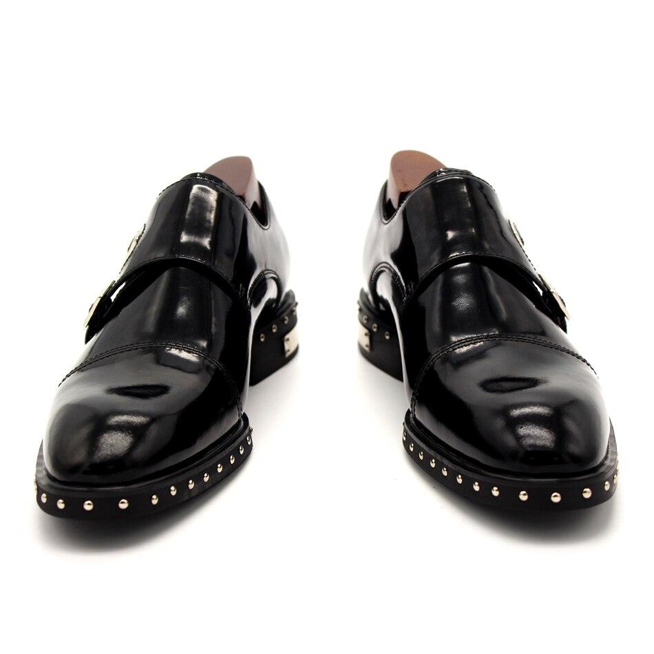 Black Monk Strap Rivets Formal Suit Dress Shoes Flat heel Men Wedding Party Shoes