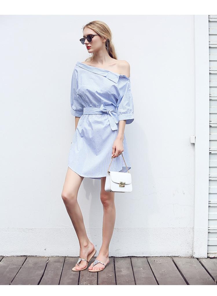 2017Fashion one shoulder Blue striped women shirt dress Sexy side split Elegant half sleeve waistband Casual beach dresses 4