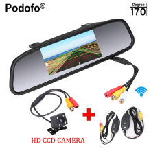 Podofo 4.3″ Digital LCD Car Rearview Mirror Monitor + Waterproof Rear Camera Backup Camera + Wireless Parking Assistance System