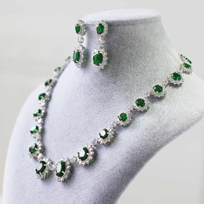 Freies Verschiffen Hochzeit Braut Smaragd Halskette Ohrringe Teardrop Zirkon Edelstein Kristall diamant braut Frauen Partei Schmuck