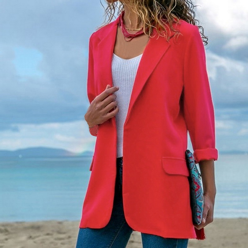 Women Fashion Sping Autumn Long Sleeve Cardigan Blazers Outwear 2019 New Ladies Solid Color Open Front Slim Fit Lapels Coats in Blazers from Women 39 s Clothing