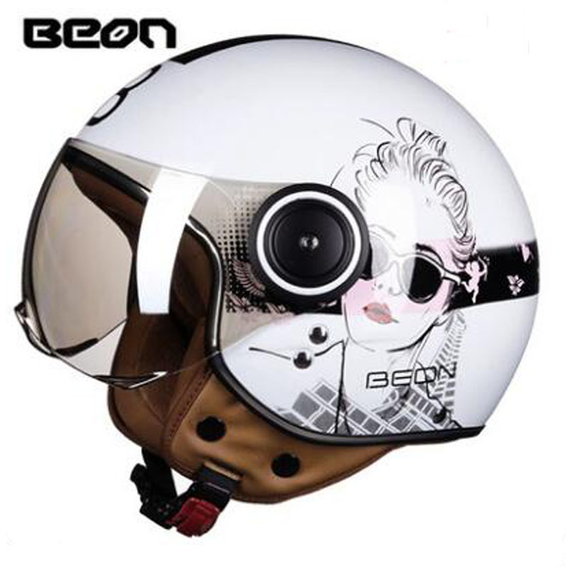 2018 Winter New BEON Retro Motorcycle helmets B-110B Half face Motocross motorbike helmet made of ABS and PC Visor lens 2016 newest netherlands authorization beon retro air force harley style half face motorcycle helmet b 100 of abs matte black cat