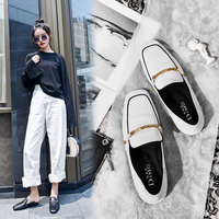 2018 new flat black leather low heel thick with white square head two wear stepping with one foot wearing Lok Fu shoes.