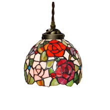 European Nordic Rustic Stained Glass Rose Flower Dining Room Kitchen Led Pendant Lamp Hanging Bar Light Cord Decorative Lighting