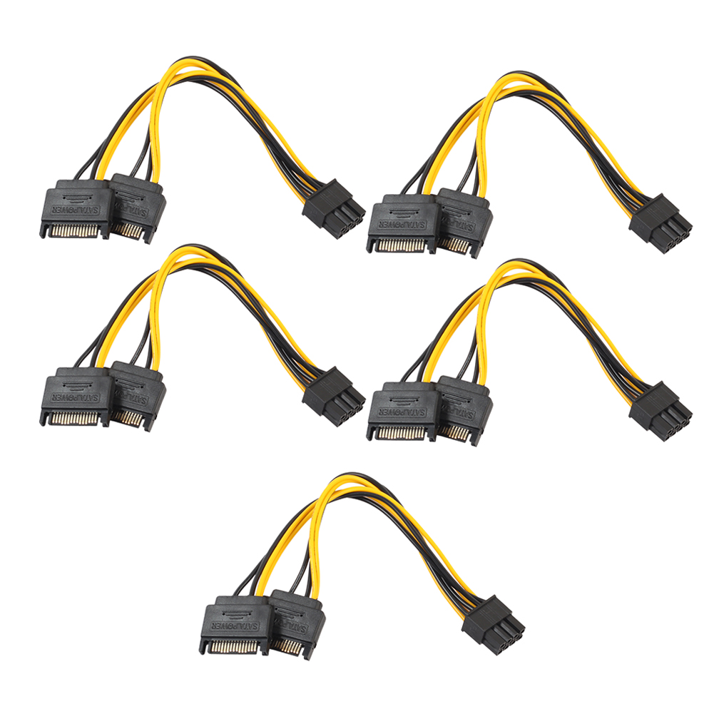 Hot Sale 5pcs Dual 15Pin SATA Male To PCIe 8Pin(6+2) Male Video Card Power Cable Connector Power Supply dual sata 15pin to 8pin pci e power supply cable for video card 2 sata 15pin to 8 6 2 pin cord 18awg 20cm