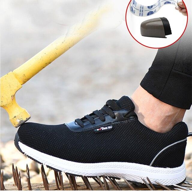 Erkek Güvenlik Ayakkabıları Erkek çelik burun Nefes Örgü Ultral Işık rahat ayakkabılar Emek Sigorta Koruyucu Çelik Ayak iş ayakkabısı