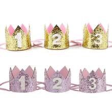 Niño azul plata primer sombrero de cumpleaños niña oro rosa princesa corona  número 1 2 3 años de edad sombrero de fiesta brillo . 60e181c6c71