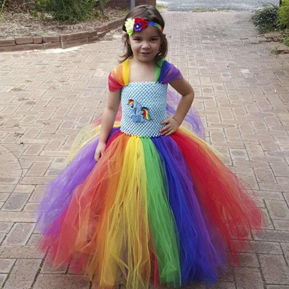 Full length Girl Rainbow Pony Tutu Dress Children Inspired Little Pony Birthday Party Tutu Dresses Halloween Costume For Girls pocket full length tee dress