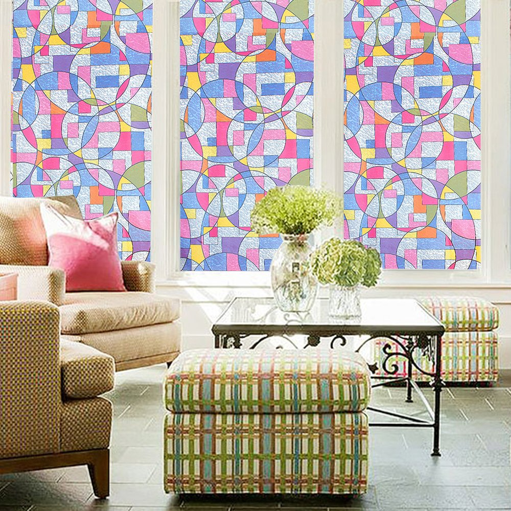 Funlife Decorative Privacy Window Film Stained Glass Film Geometric Circle Pattern Anti UV Removable Window Cling Non Adhesive in Decorative Films from Home Garden