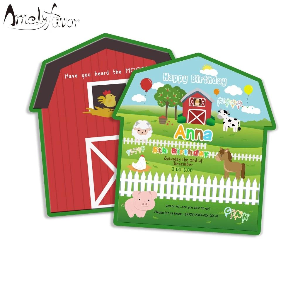 farm animals invitations card farm birthday party supplies decorations kids event birthday invitations