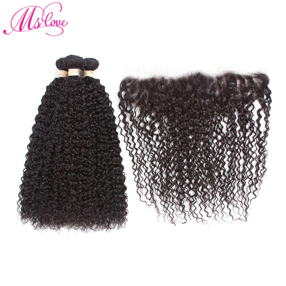 MsLove Pre-Colored Kinky Curly 3 Bundles Human Hair Weave Natural Color Burmese Non-remy Hair With 13x4 Lace Frontal
