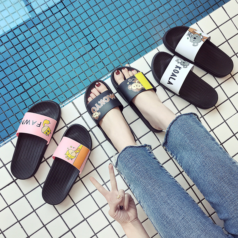 2019 Women Slippers Fashion Summer lovely Ladies Casual Slip On Beach Flip Flops Slides Woman Indoor Shoes TUX2 in Flip Flops from Shoes