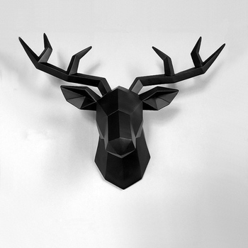 Home Statue Decoration Accessories Deer Head Abstract Geometric Sculpture Room Wall Decor Resin And Sticker
