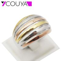 Wholesale High Quality Women Party Ring Classic Stainless Steel 6 Row Lines 3 Colors Jewelry Wedding