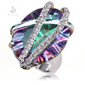 Rainbow Mystic stone and White Cubic Zirconia Recommend Classic Fashion  jewelry Hot Silver Plated RING  R3312 sz#6 7 8 9