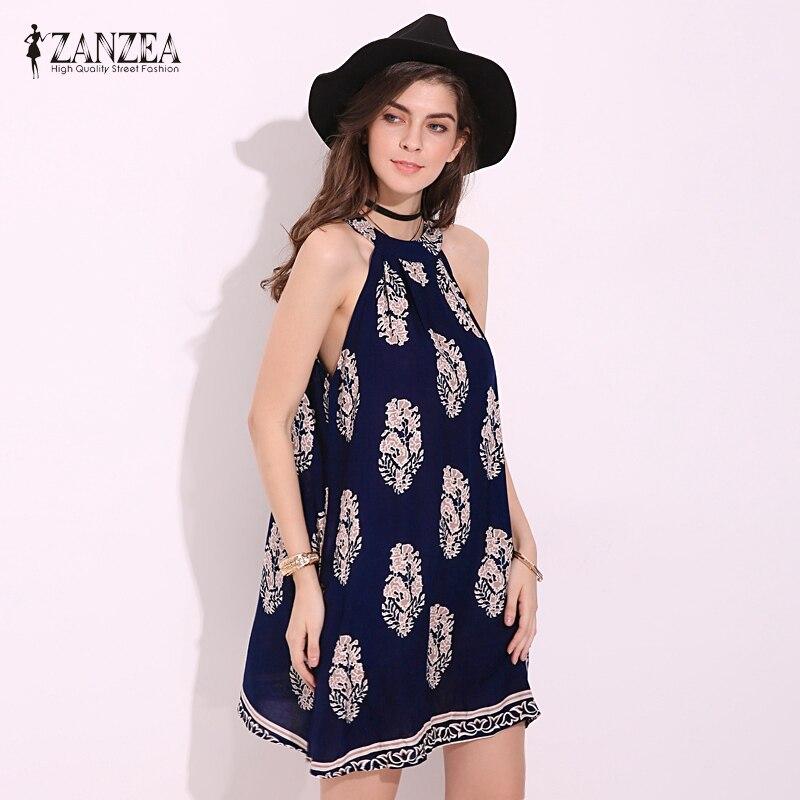 a40826b5c Zanzea mujeres 2018 retro impreso floral sin mangas flojo ocasional vestido  sexy Ladies Boho Beach mini Vestidos vestidos tamaño más