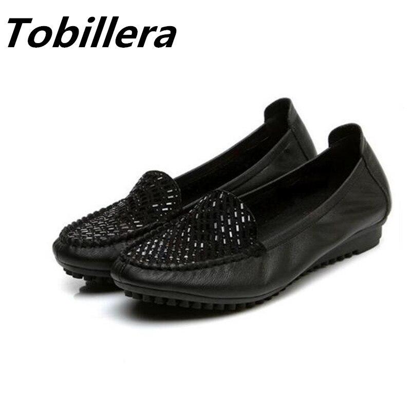 Tobillera Mujeres Del Cuero Genuino Zapatos Planos Suaves Con La Moda Rhinestone