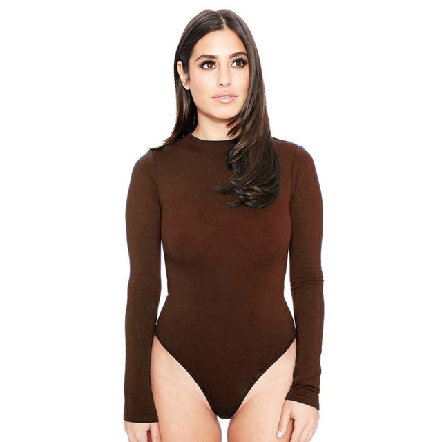 26bcac1fb7 Wendywu Sexy Lady Brown O-Neck Long Sleeve Bodycon Bandage Bodysuit Slim  Short Overalls