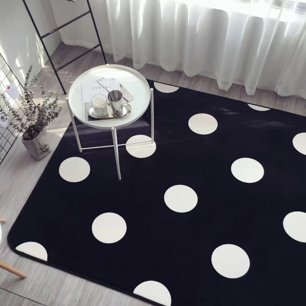 Simplicity Fashion White Black Polka Dots Living Room Bedroom Decorative Carpet Area Rug Floor Yoga Baby