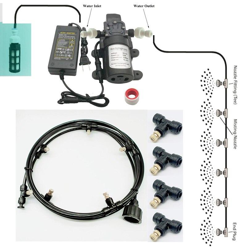 garden misting pump water spray system nebulizer for flowers plant greenhouse garden irrigation Black 6m-18m