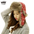 Fashion Winter Women Cotton Knitted  Bomber Hats Warm Women Windproof Bomber Hats New Patchwork Color Designer Female Girl Caps