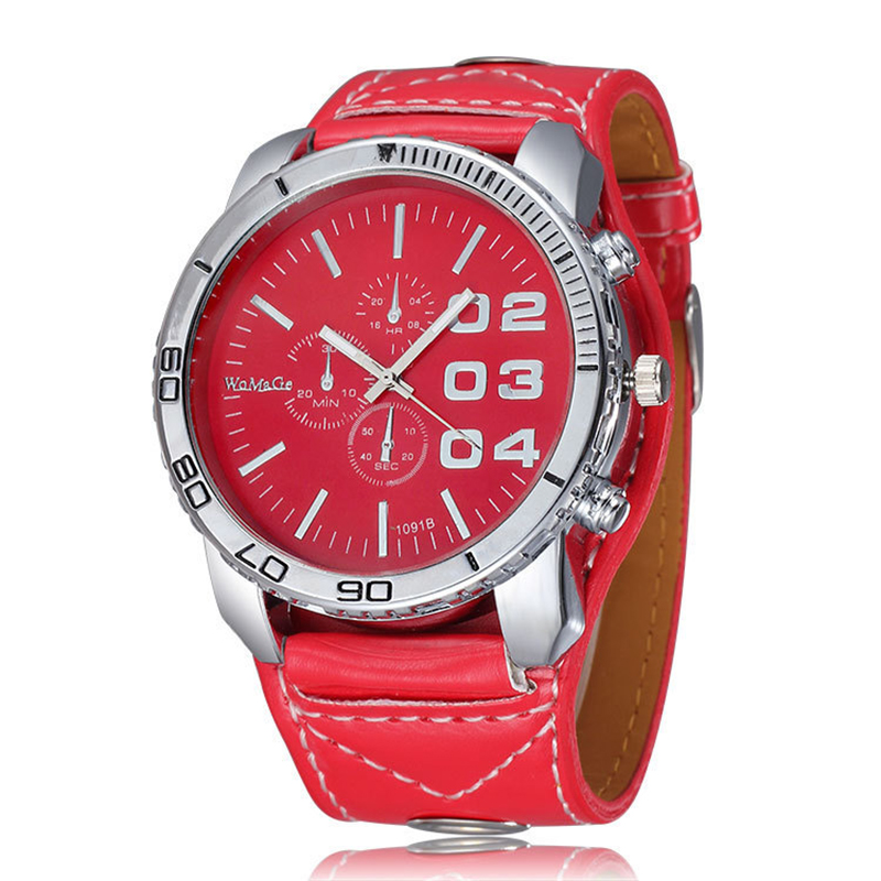 2018 New Red Leather Sport Watches Women Fashion Watch Multi Dial Ladies Casual Wrist Watch Big Dial Female Clock Reloj Mujer цена и фото