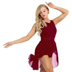 Image 2 - נשים מבוגרים בלט שמלת בלט בגדי גוף לנשים שרוולים לגזור אסימטרית שיפון בלט ריקוד התעמלות בגד גוף שמלה
