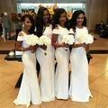 Blanco de la sirena dama de Honor vestidos formales para la boda 2016 más reciente Scoop manga corta longitud del piso de la cremallera de dama de Honor vestido