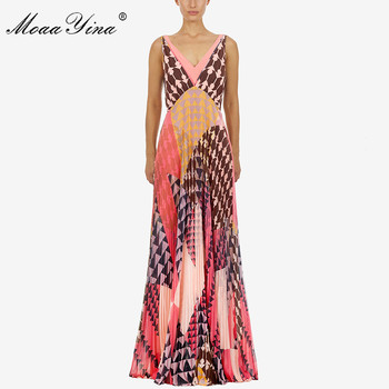 MoaaYina Fashion Designer new arrive Deep V Women Dress Party Backless Sexy Holiday Beach Pleated Maxi Dresses