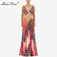MoaaYina Fashion Designer new arrive Deep V Women Dress Party Dress Backless Sexy Holiday Beach Pleated Maxi Dresses