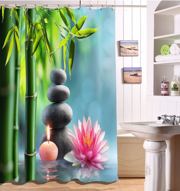 72 Zen Spa Buddha Black Stones Bathroom Fabric Shower Curtain Waterproof Polyester Sets 12 Hooks