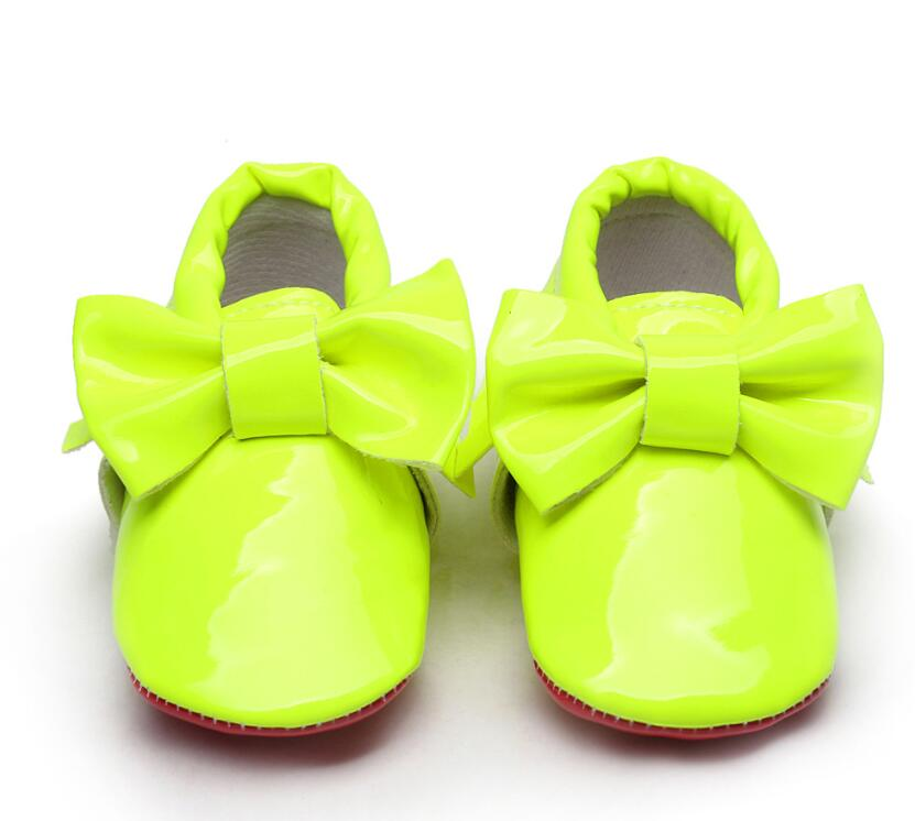 Boys Shoes Bottom Baby-Girls Tassel First-Walkers Bowknot Infant Patent Big Red for 0-6