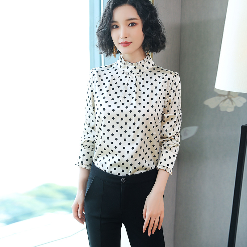 Women Natural Silk Shirts Knitted Full Sleeve OL Blouses Large Female Shirts Comfortable Breathable Blouses KQLXA206