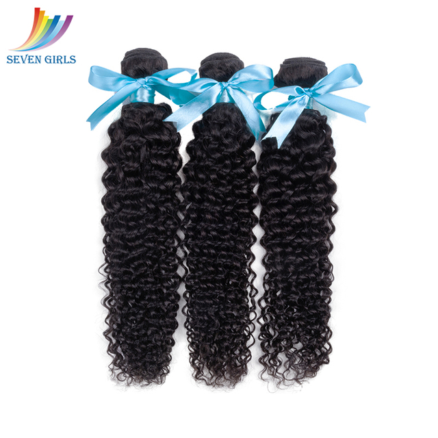 Sevengirls Peruvian Deep Curly 10-28 Inch Bundles With Frontal Grade 10A Natural Color Human Hair 3 Bundles With 13*4 Frontal 1