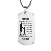 My Son Tag Dog Collar Stainless Steel Mother son Pendant Necklace Nameplated Necklace Dog Tag To my son gifts(China)