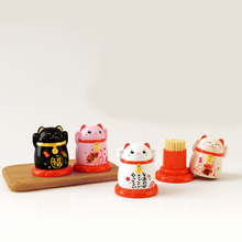 Cartoon Plastic Cat Toothpick Holders New Japanese Style Cute Lucky Fortune Home Dustproof Household