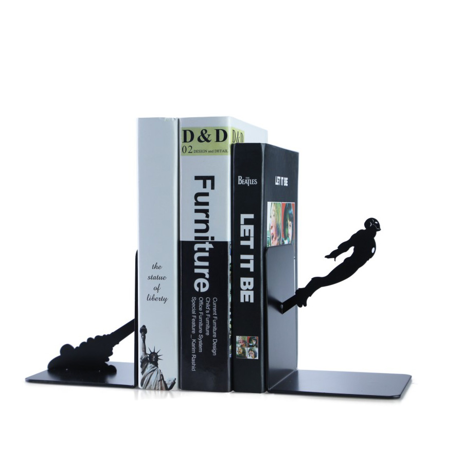 A Pair Creative Black iron Metal Bookend Shelf Bookend Holder Office School Supplies Stationery Gift Home decoration new korea stationery retro creative extension type bookshelf vintage metal bookend 550