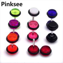 36PCS New Trendy Cheater Illusion faux fake Ear Plugs Gauges 6mm Round Earrings Studs 8 Colors Mixed Free Shipping [BA40*36]