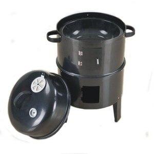 Image 3 - Metal 3 in 1 barbekü ızgara kavurma sigara içen vapur barbekü ızgara taşınabilir açık kamp kömür sobası pişirme araçları aksesuarları